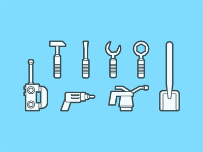 Lego Tool Icons screwdriver design lego wrench drill shovel hammer tools blue lines icons