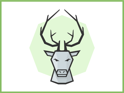 Stag Head green playing card card ace spade antlers stag