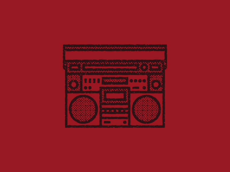 Kung Fury Boombox lines icon red texture boombox