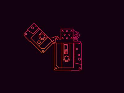 Cassette Zippo tape black orange pink lines lighter zippo cassette