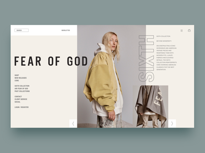 Fear of God minimal simple fashion design modern app layout fashion landing web landing page homepage uiux ui god fear fear of god