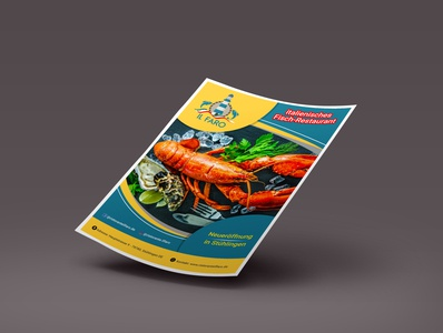 Flyer design for a fish restaurant