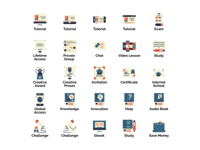 Online Learning Icon Set Design Flat Style education internet school challenge e-book e-course e-learning online lesson online education online course online learning flat illustration web design flat  design flatdesign icon set icons iconography icon icon design illustration
