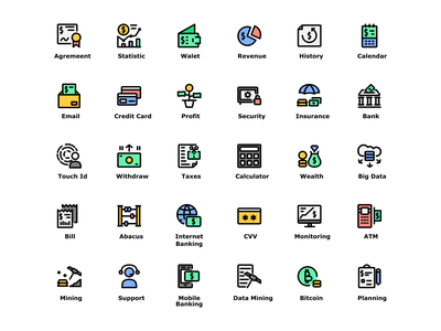 Finance Technology Icon Set Design Filled Line Style business app banking app money app business finance app financial fintech icon app icon pack web design ui design ui flatdesign illustration design icon set icons iconography icon icon design