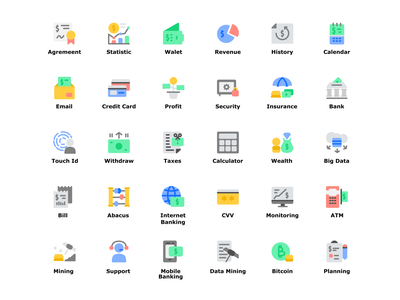 Finance Technology Icon Set Design Flat Style icon pack icon sets business vector illustration fintech finance app icon designs app icon web icon vector ui design flat illustration flat  design ui icon set icons iconography icon design icon illustration