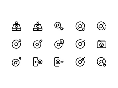 Disc Icon Set Design Line Style icon ui icon app storage compact disc dvd cd disc icon pack line outline web design ui design design ui icon set icons iconography icon design icon illustration