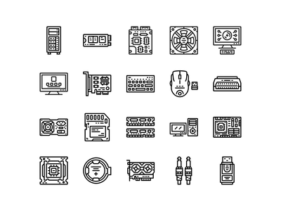 Computer Component Icon Set Design Line Style line style vector illustration app icons web icon logo vector ui design motherboard component computer web icons ui icons icon packs vector icons illustration icons icon set iconography icon design icon