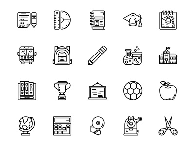 Back To School Icon Set Design Line Style notebook school building school bus pencil students backpack graduation vector icons svg icons icon pack learning education back to school illustration ui design icon set icons iconography icon design icon