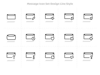 Message Icon Set Design Line Style