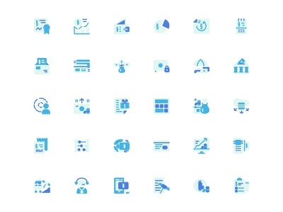 Finance Technology Icon Set Design Flat Style finance business classic blue fintech digital illustration web design ui design finance app illustration flat illustration flat  design icons iconography icon design icon set icon business finance