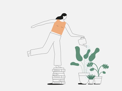 Girl Watering Plants woman simple plants character illustration