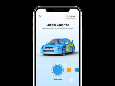 Car Color Selector Figma Prototype cars color ui interaction prototype product render 3d cgi blender