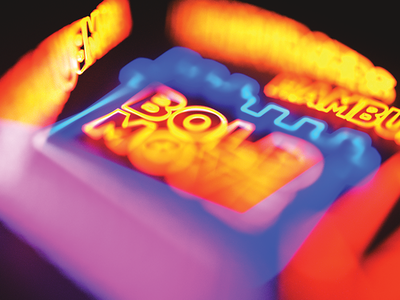 Neon dof blur light sign neon 3d blender
