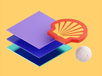 Plastics material design shell 3d cgi blender
