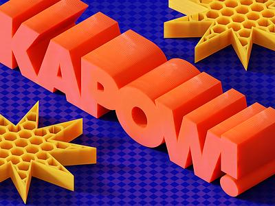 KAPOW! comic kapow! plastic printing 3d blender cgi render