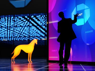 The Future of Banking hologram neon render 3d cgi blender