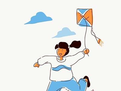 Play kite typography ux illustration