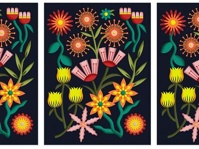 Spring Gathering petals leaf gather spring bouquet floral flowers illustration