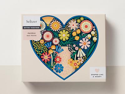 Seltzer Goods puzzle plants texture vase feminine illustration packaging game floral heart flowers