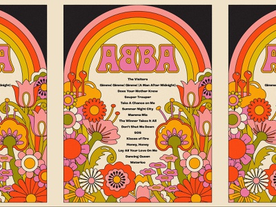 ABBA Voyage gig poster show illustration trippy rainbow poster setlist disco music flowers 80s 60s 70s voyage abba voyage abba