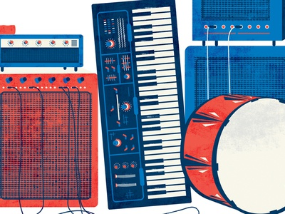 red white blue instruments texas red white blue american keyboard speakers illustration amps guitar flag beer