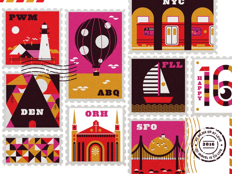 stamps subway balloon lighthouse maine albuquerque san francisco denver nyc america cities travel stamps