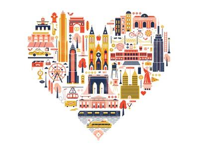 Great Little Place taxi subway empire state illustration buildings heart travel city queens manhattan brooklyn new york