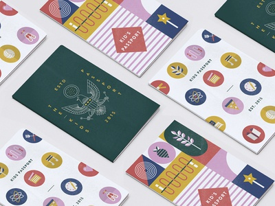 Kids Passport sports science cover music icons book travel passport
