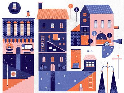 life of spies key city new york map typewriter fish car illustration light spy travel buildings