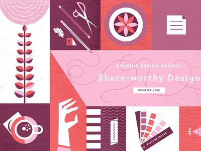 Shareworthy Design Course plants scissors pencil glue pantone coffee illustration desk supplies