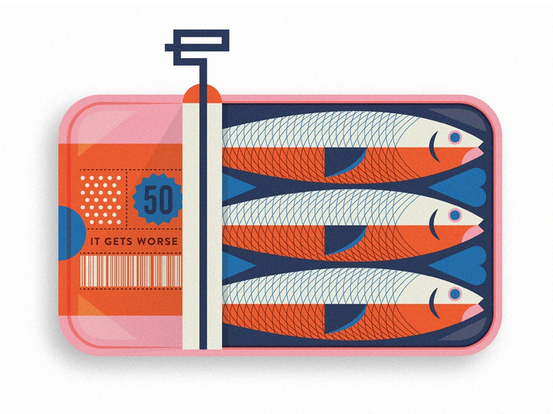 Sardines dead sticker magnet illustration package can fish sardine