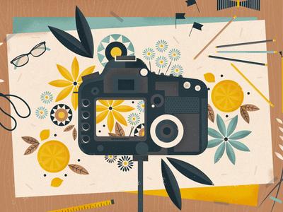 Blueprint Society photographer blog scissors orange petals illustration styling flowers stylist camera
