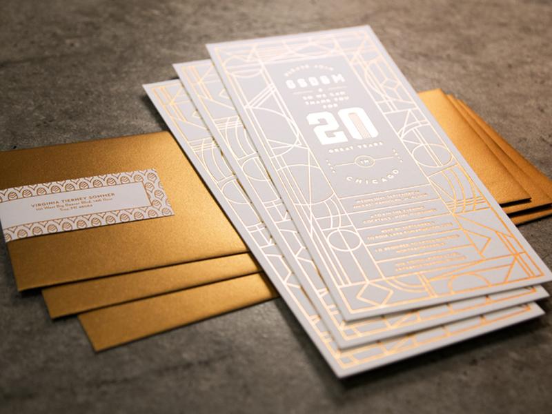 Invite Thumb print envelope art deco chicago gsdm invite anniversary gold foil letterpress invitation