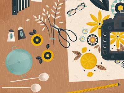 Blueprint Society - 2 illustration table orange spoon scissors glasses photographer photo utensils flowers camera blog