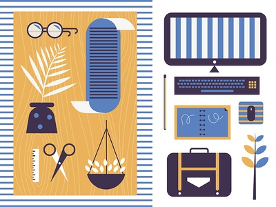Leftovers notebook mouse suitcase work computer glasses plant table illustration