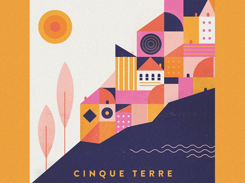 Cinque Terre trees illustration vacation sun buildings europe travel cinque terre italy
