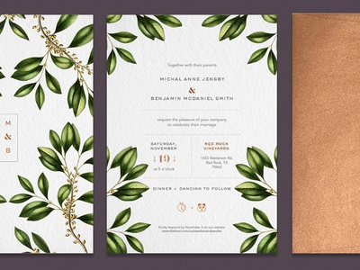 Peaches + Pandas ceremony marriage leaves copper foil layout invite botanical floral invitation wedding