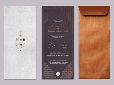 Invite - alt wedding invite foil geometric himmeli typography letterpress copper wedding invitation invite