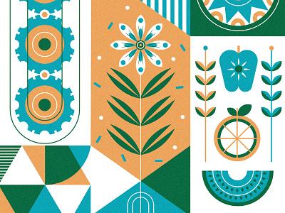 Holstee geometrci orange pattern plants apple sun cog holstee flower letterpress