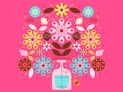Valentine vase tag card illustration bouquet flowers facebook valentines day valentine