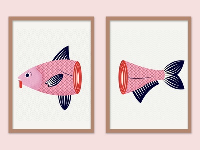 fish snips dead fin scale illustration art print series frame print underwater animal fish