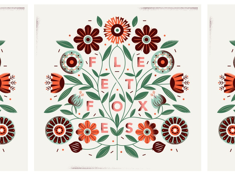 fleet foxes type floral flowers illustration poster album music fleet foxes