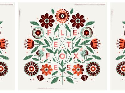 fleet foxes type floral flowers illustration poster album music fleet foxes