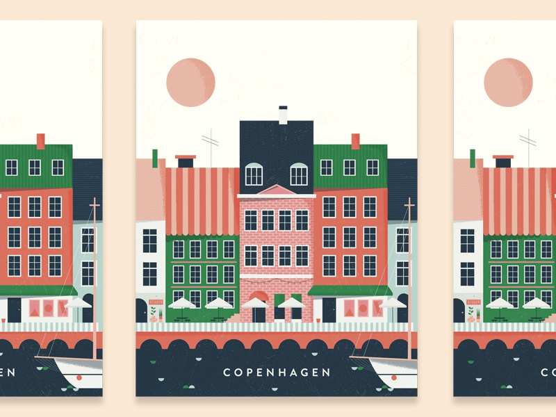kobenhavn boat illustration buildings harbour danish europe scandinavia nyhavn kobenhaven denmark copenhagen