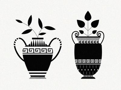 vase fates illustration pattern grecian greek leaf plant planter vase