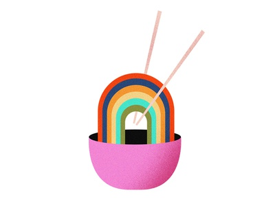Rainbow Ramen illustration pho bowl soup chopsticks food noodles ramen rainbow