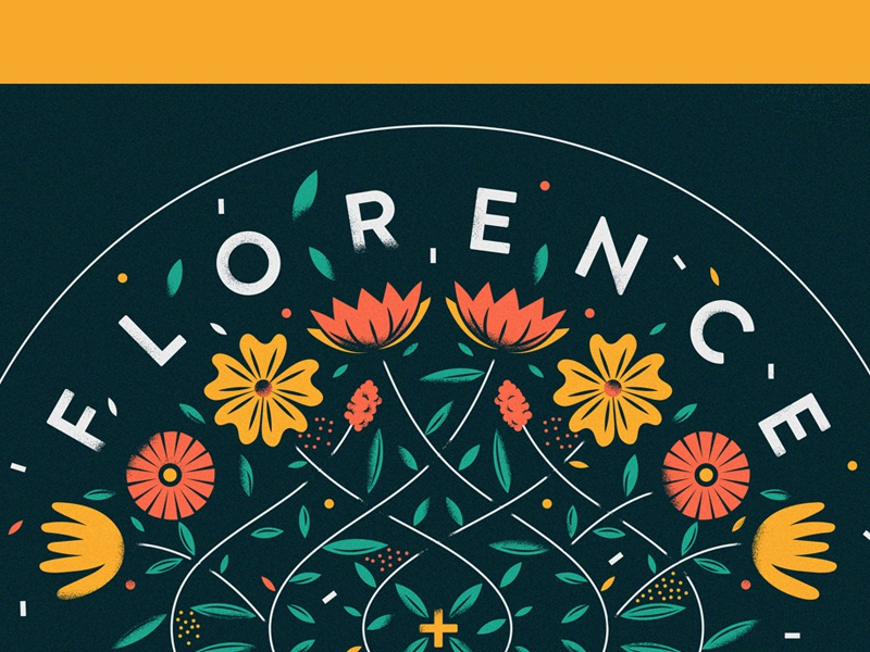 florence typography illustration text nature vine floral flowers florence