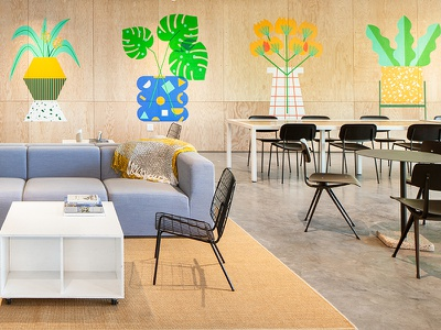 Facebook x WeWork wework facebook wall pattern shapes plants flower illustration mural