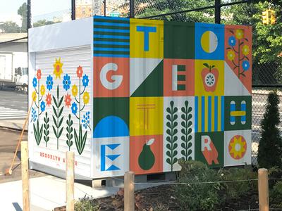 Better Together outdoors apple illustration type children playground kids fruit better together flowers floral mural shed