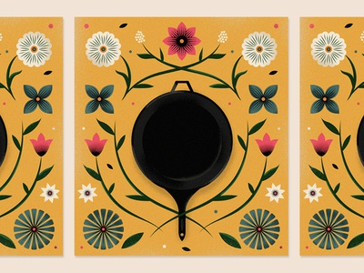 Date cast iron newspaper illustration editorial pattern floral pan cooking flowers skillet